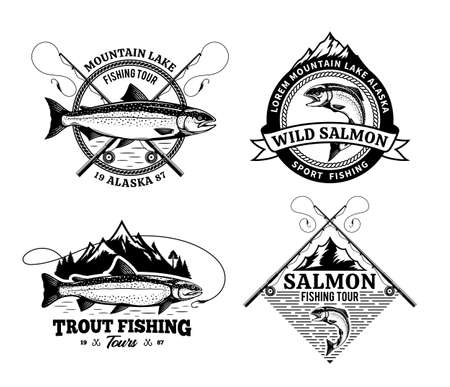 Vector fishing badges with detailed fish, rods and mountains. Fishing tournament, tours and camps illustrations