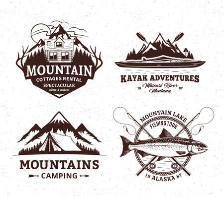 Vector mountain and outdoor active recreation and tourism badges. Mountain camping, cottage rental, kayaking and fishing illustrations