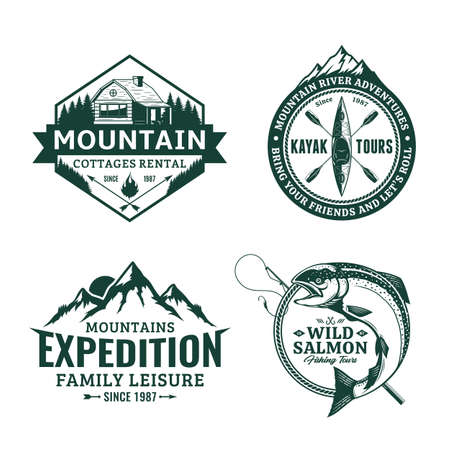 Set of vector mountain and outdoor recreation badges. Mountain travel, cottage rental, kayaking and fishing illustrations