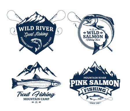 Vector fishing badges or labels with detailed fish, rods and mountains. Fishing tournament, tours and camps illustrations Иллюстрация