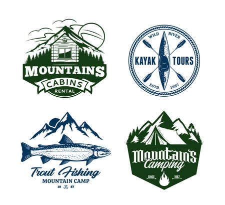 Set of vector mountain and outdoor recreation badges. Mountain camping, cabin rental, kayaking and fishing illustrations