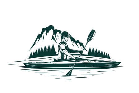 Kayaking on mountain river vector illustration with kayaker, mountain silhouette and pine trees. Water sport and kayaking design concept