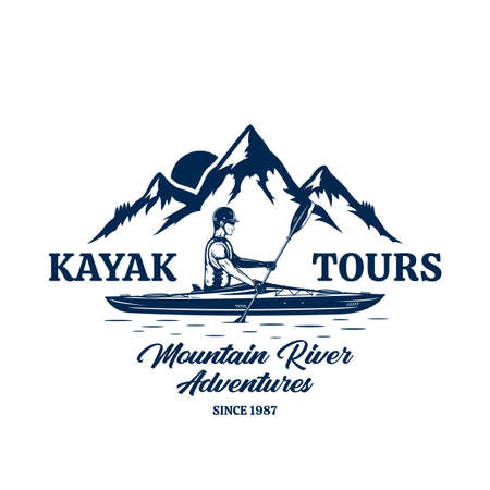 Vector kayak tours   with kayaker and mountain silhouette. Water sport and kayaking badge design concept