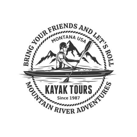 Vector mountain river kayak tours . Water sport and kayaking badge design concept