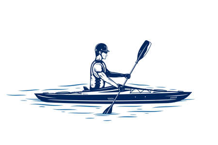 Kayaking on river vector illustration. Water sport and kayaking design concept