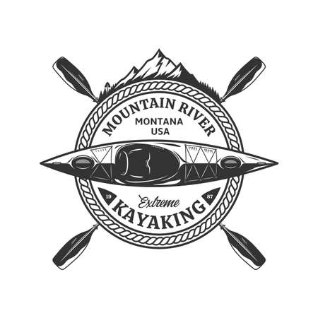 Vector mountain river kayaking  with boat, paddles and mountain silhouette. Water sport and kayaking badge design concept