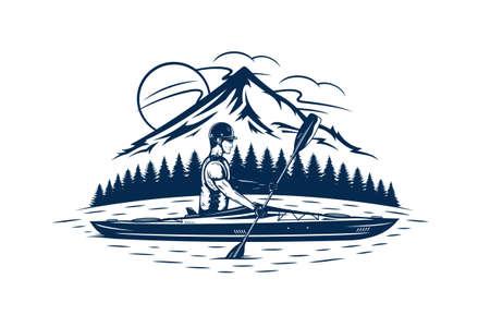 Man kayaking on mountain lake vector illustration. Water sport and kayaking design concept