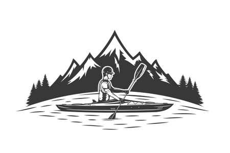 Kayaking on mountain lake vector illustration with kayaker and mountain silhouette. Water sport and kayaking design concept Иллюстрация