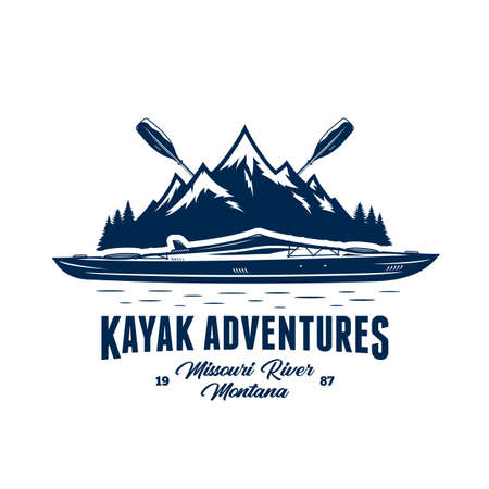 Vector mountain river kayak adventures   with boat, paddles and mountain silhouette. Water sport and kayaking badge design concept Иллюстрация