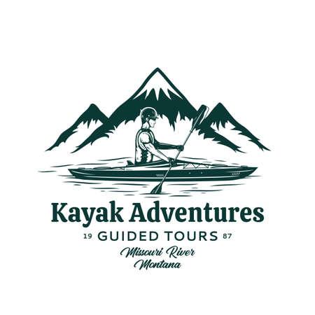 Vector mountain river kayak adventures . Water sport and kayaking design concept