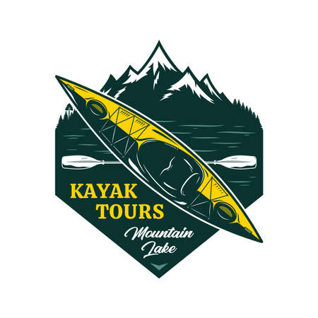 Vector kayak tours  with boat, paddle and mountain. Water sport and kayaking badge design concept