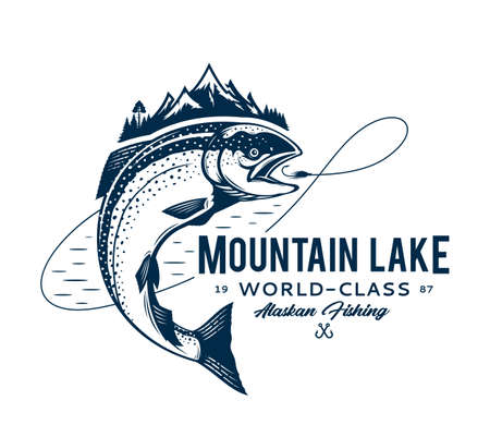 Vector mountain lake fishing   with salmon fish, fishing line, hook and mountains. Fishing tournament, tour and camp illustrations