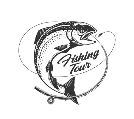 Vector fishing tour  with salmon fish, fishing rod, line and hook. Fishing tournament, tour and camp illustrations
