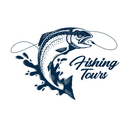 Vector fishing tours  with salmon fish, fishing line, hook and water splash. Fishing tournament, tour and camp illustrations 矢量图像