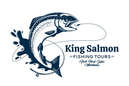 Vector fishing  with salmon fish, fishing rod, line, hook and water splash. Fishing tournament, tour and camp illustrations