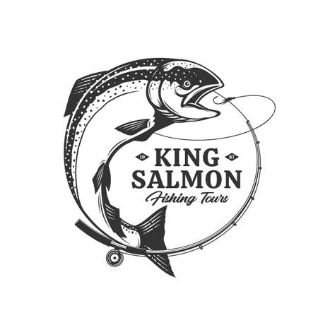 Vector fishing  with salmon fish, fishing rod, line and hook. Fishing tournament, tour and camp illustrations