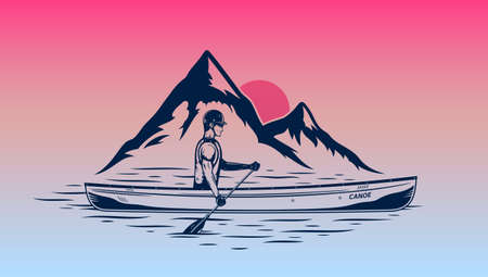 Man canoeing at sunset on mountain lake vector illustration. Water sport and canoeing design concept