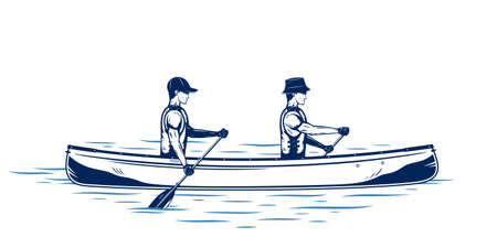 Two men canoeing on a river vector illustration. Water sport and canoeing design concept