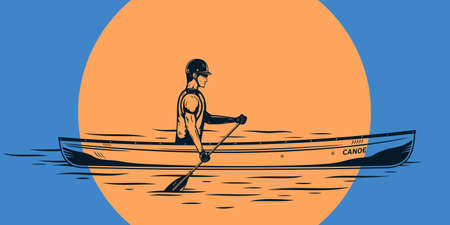 Man canoeing on a river vector illustration. Water sport and canoeing design concept
