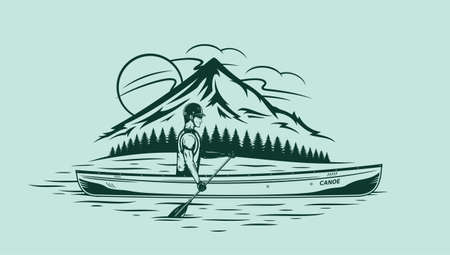 Man canoeing on mountain lake vector illustration. Water sport and canoeing design concept Иллюстрация