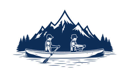 Two men canoeing on mountain lake vector illustration. Water sport and canoeing design concept