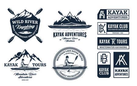 Set of vector kayaking  badges and design elements. Water sport, recreation, kayaking, canoeing, rafting design concept 矢量图像