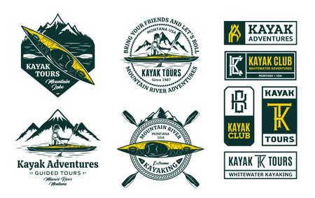 Set of vector kayaking   badges and design elements. Water sport, recreation and kayaking design concepts