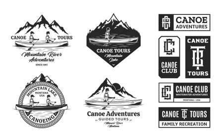 Set of vector canoeing  badges and design elements. Water sport, recreation, canoeing, kayaking, rafting design concept
