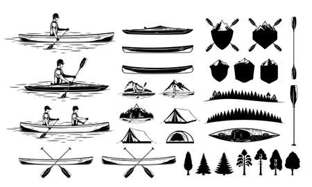 Set of vector kayaking and canoeing illustrations and design elements. Water sport and recreation illustrations and icons