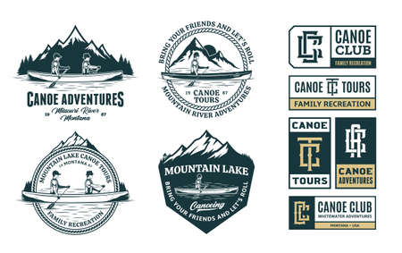 Set of vector canoeing  , badges and design elements. Water sport, recreation and canoeing design concepts