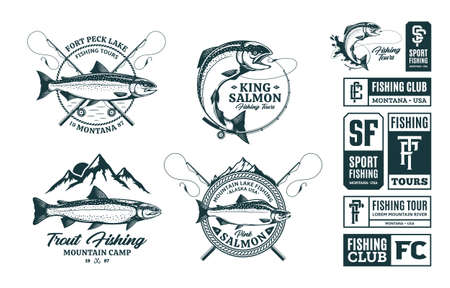 Vector fishing logo and illustrations. Sport fishing, tournament, tours and camps badges
