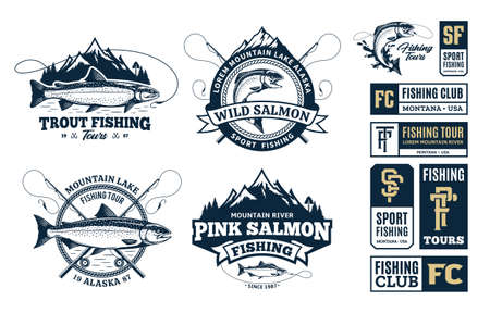Vector fishing logo and illustrations. Fishing tournament, tours and camps badges 矢量图像