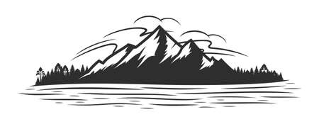 Vector mountain silhouette, coniferous forest and glare on the mountain lake or river