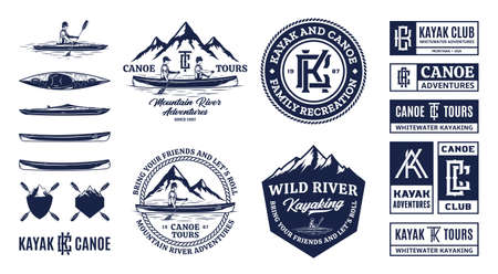 Vector canoeing and kayaking  badges and design elements. Water sport, recreation, canoeing and kayaking illustrations