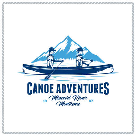 Vector canoe adventures  with two canoers and mountain silhouette. Water sport and canoeing badge design concept