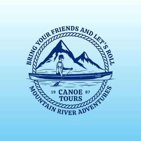 Vector mountain river canoe tours  . Water sport and canoeing badge design concept