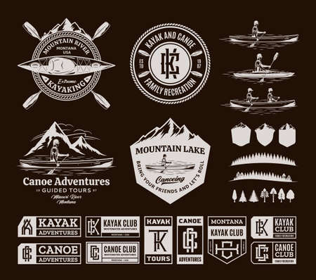 Canoe and kayak   badges and design elements. Water sport, recreation, canoeing and kayaking design concepts