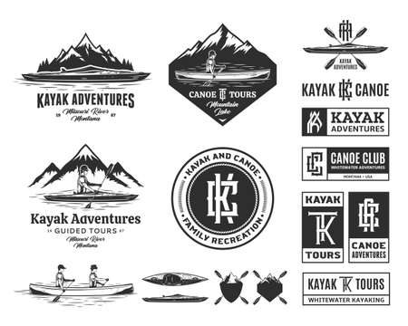 Set of vector canoeing and kayaking   badges and design elements. Water sport, recreation, canoeing and kayaking design concepts