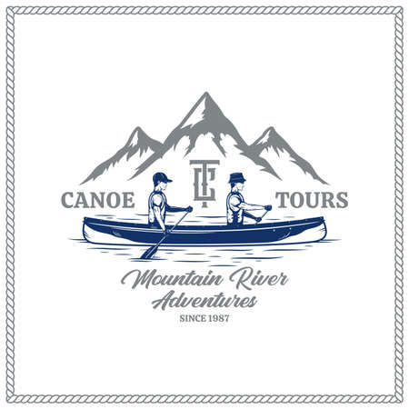 Vector canoe tours with two canoers and mountain silhouette. Water sport, recreation and canoeing badge design concept 矢量图像