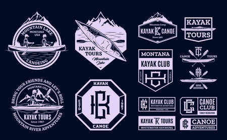 Vector canoe and kayak   badges and design elements. Water sport, recreation, canoeing and kayaking illustrations