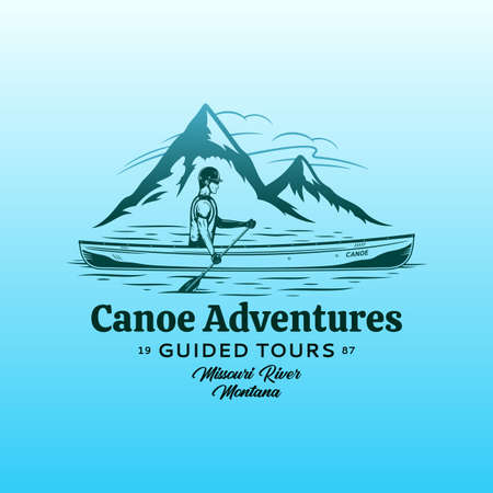 Vector mountain river canoe adventures  . Water sport and canoeing design concept 矢量图像