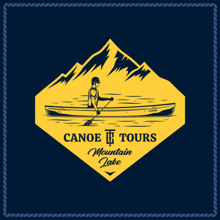Vector canoe tours  with canoer in a boat and mountain silhouette. Water sport and canoeing badge design concept