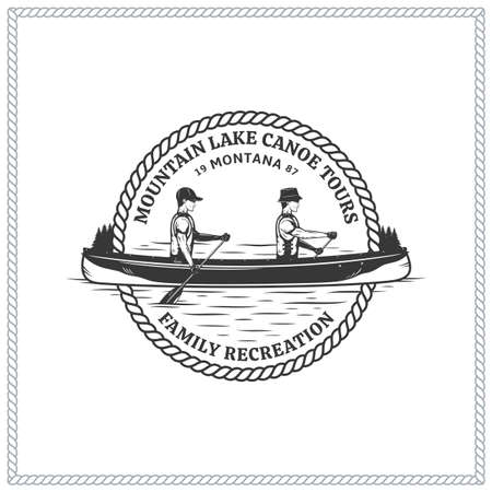 Vector mountain lake canoe tours  with boat and two canoers. Water sport, recreation and canoeing badge design concept 矢量图像