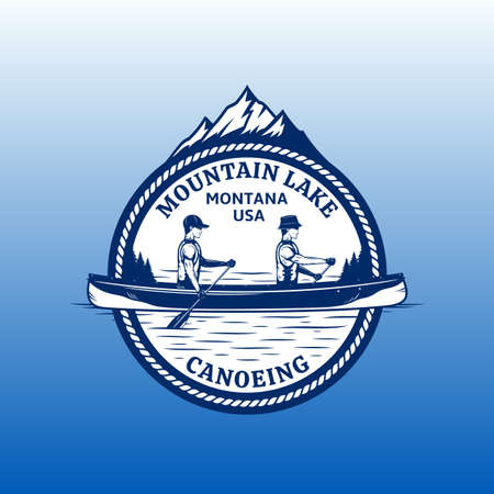 Vector mountain lake canoeing  with boat, two canoers and mountain silhouette. Water sport and canoeing badge design concept