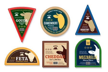 Vector cheese labels and packaging design templates. Cow, sheep and goat icons 矢量图像