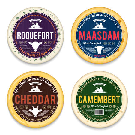 Vector cheese round labels and different types of cheese detailed patterns. Cow, sheep and goat icons