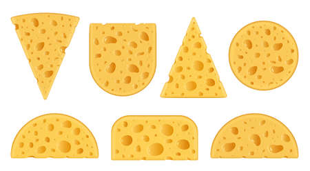 Vector swiss cheese realistic icons isolated on a white background