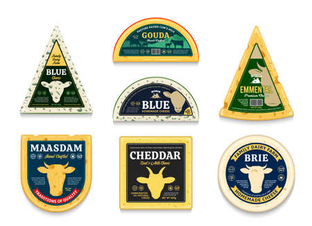 Vector cheese labels and packaging design elements. Different types of cheese detailed icons. Cow, sheep, and goat icons Vecteurs