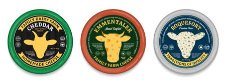 Vector cheese modern style creative round labels and different types of cheese detailed patterns. Cow, sheep, and goat icons