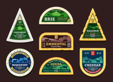 Vector cheese labels and packaging design elements. Different types of cheese detailed icons. Dairy farm illustrations with cows, sheep, and goats